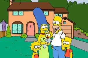 The Simpsons outside their house in Springfield